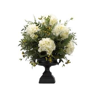 D&W Silks Cream Hydrangeas with Berries and Locust Spray in Pedestal Urn