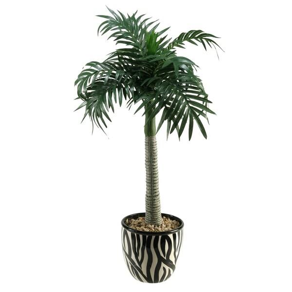 Shop D W Silks Large Palm Tree In Round Ceramic Planter With Zebra