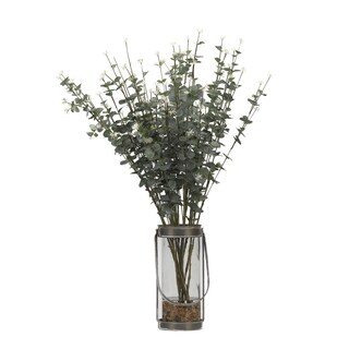 D&W Silks Eucalyptus Branches in Glass Vase with Metal Frame and Handle