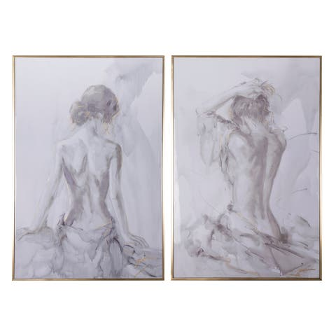 "Set of Two, 32.5x48.5"" Artist'S Figure Sketches Wall Decor"