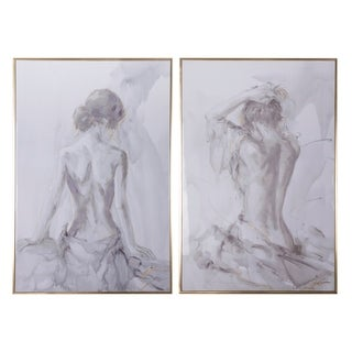 """Set of Two, 32.5x48.5"""" Artist'S Figure Sketches Wall Decor"""