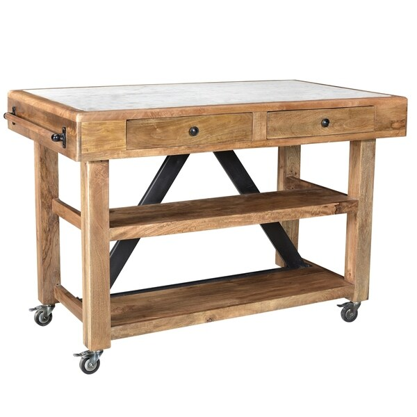 Makrana Kitchen Island With Marble Top Free Shipping Today 19484934