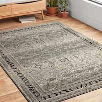 "Antique Inspired Vintage Grey/ Brown Distressed Rug - 2'7"" x 4'"