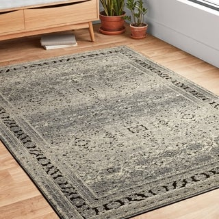 Antique Inspired Vintage Grey/ Brown Distressed Rug - 5'3 x 7'6