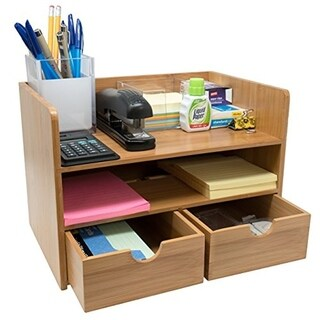 Sorbus 3-Tier Bamboo Shelf Organizer for Desk with Drawers