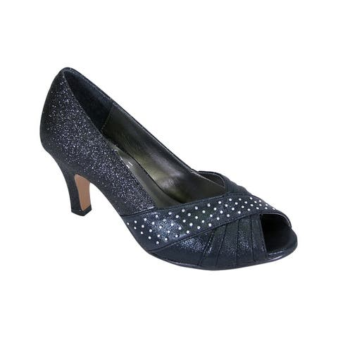 FLORAL Grace Women Extra Wide Width Sparkly Crystals Peep Toe Pumps