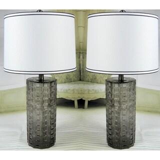 "JT Lighting ""Julia"" Set of 2 Smoke Glass Lamps - 26 inch"