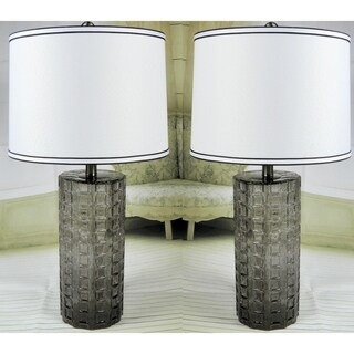 "JT Lighting ""Julia"" Set of 2 Smoke Glass Lamps - 26 inch"