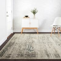 Antique Inspired Vintage Taupe/ Ivory Distressed Rug - 7'10 x 10'6