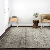 Antique Inspired Vintage Grey/ Brown Distressed Rug - 7'10 x 10'6