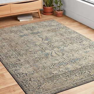 """Antique Inspired Vintage Grey/ Stone Distressed Rug - 7'10"""" x 10'6"""""""