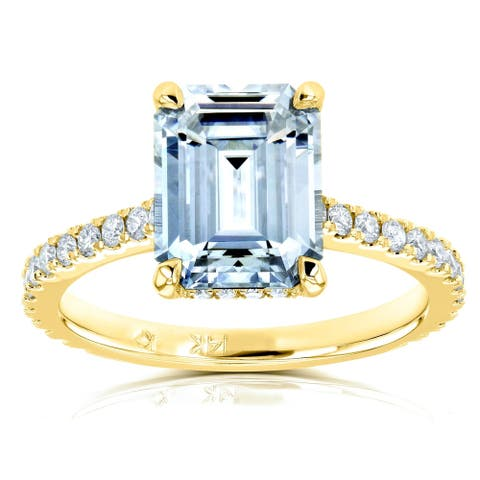 Annello by Kobelli 14k Gold 2 7/8ct TGW Emerald-cut Forever One Moissanite and Diamond Engagement Ring