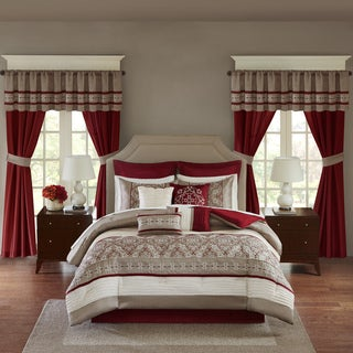 Madison Park Essentials Katarina Red 24-Piece Complete Bedroom Set (Window Panels and Sheet Set Included) (As Is Item)