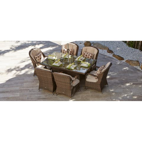 7 Piece Eton Outdoor Mixed Brown Wicker Rectangle Dining Table and Chair Set by Direct Wicker