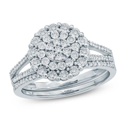 Cali Trove 1/4 Ct Round Diamond Miracle Plate Engagement Wedding Set In Sterling Silver. - White