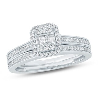Cali Trove 3/8 Ct Round & Baguette Diamond Cluster Engagement Wedding Set In 10Kt White Gold.