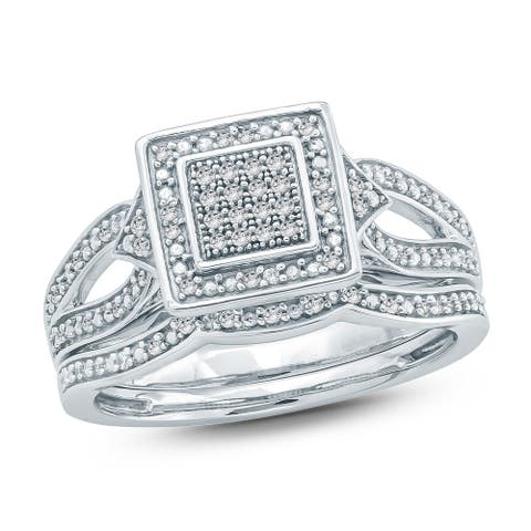 Cali Trove 1/5 Ct Round Diamond Cluster Engagement Wedding Set In Sterling Silver. - White