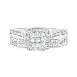 Cali Trove 1/4 Ct Round Diamond Cluster Engagement Wedding Set In Sterling Silver. - White