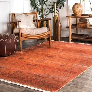 nuLOOM Traditional Floral Medallion Border Orange Tassel Rug (3' x 5')