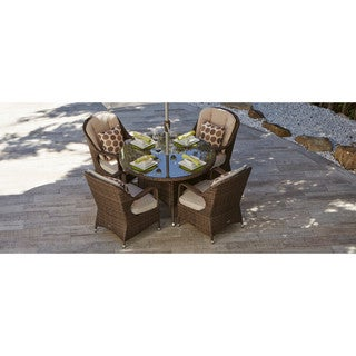 Direct Wicker Mixed Brown Wicker/Aluminium/Glass 4-seat Round Dining Set with Beige Cushions