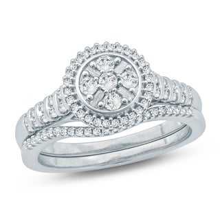 Cali Trove 1/2 Ct Round & Baguette Diamond Cluster Engagement Wedding Set In 10Kt White Gold.