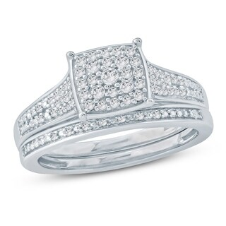 Cali Trove 1/3 Ct Round Diamond Cluster Engagement Wedding Set In Sterling Silver. - White