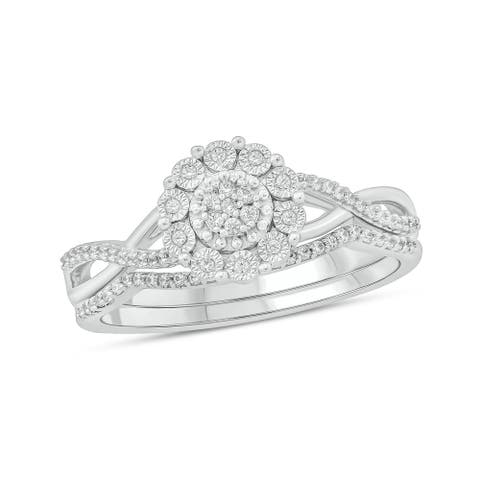 Cali Trove 1/6 Ct Round Diamond Miracle Plate Engagement Wedding Set In Sterling Silver. - White