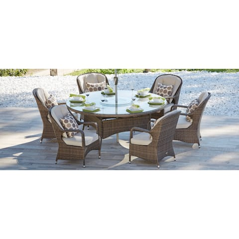 Direct Wicker Eton Chair Brown Wicker 6-seat Round Outdoor Dining Set