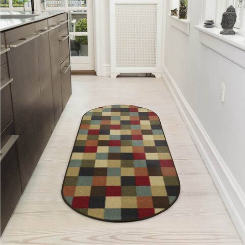 "Ottomanson Ottohome Collection Checkered Design Area Rug - 1'8"" x 4'11"" Oval"