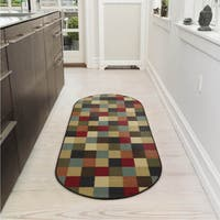 "Ottomanson Ottohome Collection Checkered Design Area Rug - 1'8"" x 4'11"" Oval"