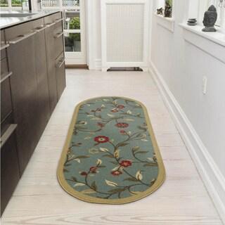 Ottomanson Home Collection Seafoam Floral Design Runner Rug (2' x 5')