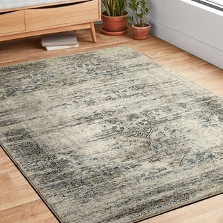 Antique Inspired Vintage Taupe/ Ivory Distressed Rug - 12' x 15'