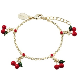 Luxiro Gold Finish Red and Green Enamel Chlildren's Dangling Cherry Necklace