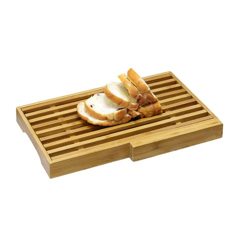 Furinno DaPur Bamboo Bread Board with Crumb Catcher and Knife Block FK8654