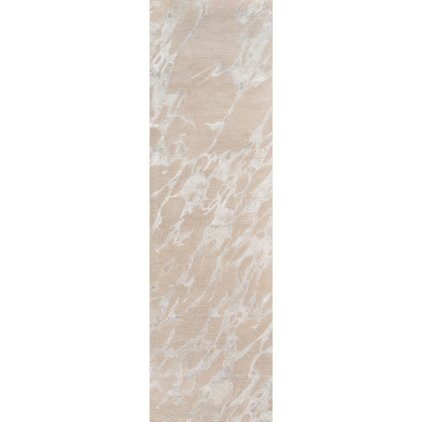 "Serenity Nouvel Sand Hand-tufted Wool/Viscose Area Rug - 2'3"" x 8'"