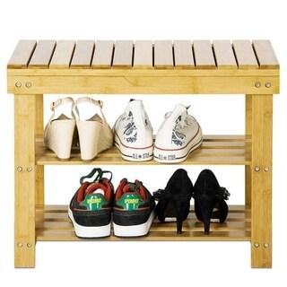 Furinno FNCJ-33026 Nature Bamboo Flip Shoes Stool, Natural
