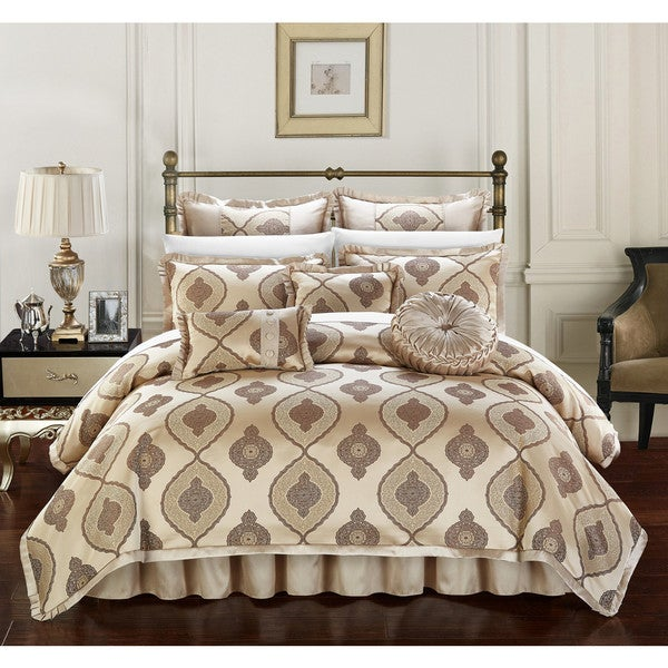 Chic Home Lazzel Gold Faux Silk Bedding with Pleated Flange 9 Piece Comforter Set. Opens flyout.