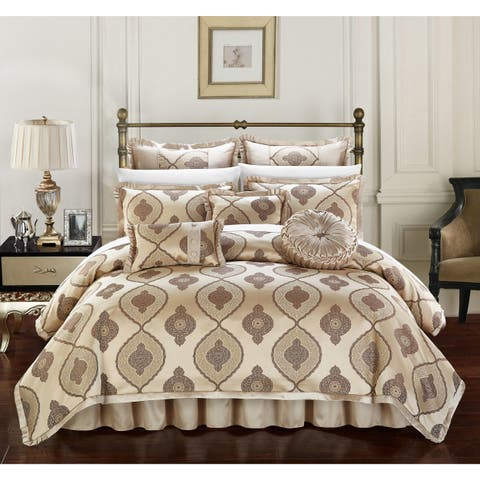 Chic Home Lazzel Gold Faux Silk Bedding with Pleated Flange 9 Piece Comforter Set