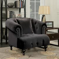 Furniture of America Lilian Glam Tufted Flannelette Chair