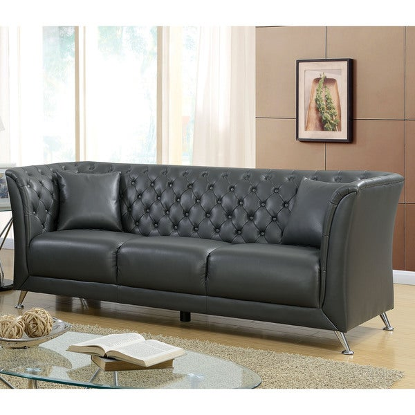 Shop Furniture Of America Derrison Grey Leather Tufted Back Tuxedo