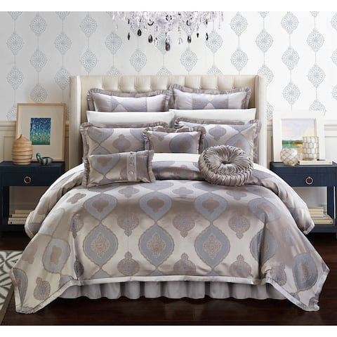 Chic Home Lazzel Taupe Faux Silk Bedding with Pleated Flange 9 Piece Comforter Set