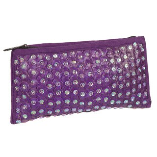 Handmade Violet Sequin & Banana Leaf Purple Clutch Handbag (Indonesia)