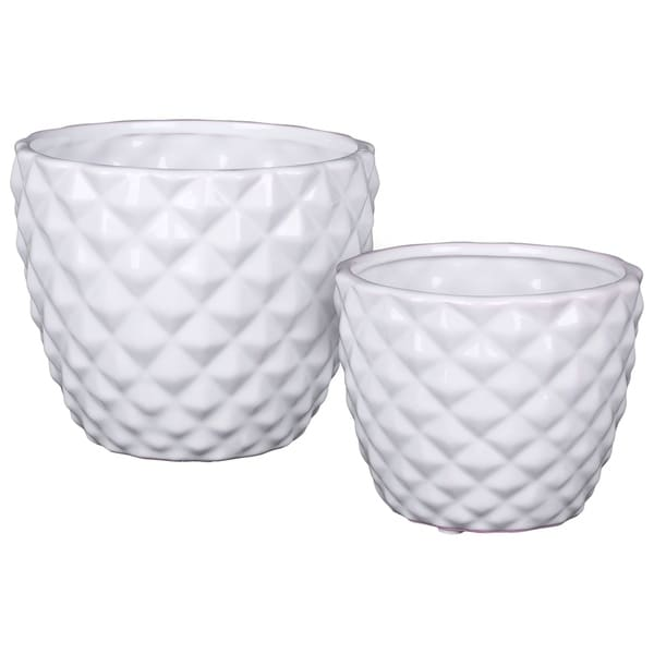 66b59fb415d Shop UTC25045  Ceramic Round Vase with Engraved Diamond Design Body and  Tapered Bottom Set of Two Gloss Finish White - Free Shipping Today -  Overstock.com - ...