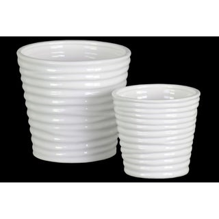 Urban Trends Ceramic Round Vase with Horizontal Ribbed Design Body and Tapered Bottom in Gloss Finish, Set of 2 - White