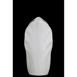 UTC52716: Ceramic Pyramidal Vase with Engraved Circle Design Body and Tapered Bottom MD Coated Finish White