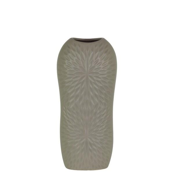 Shop Utc52713 Ceramic Tall Half Circle Vase With Engraved Leaf