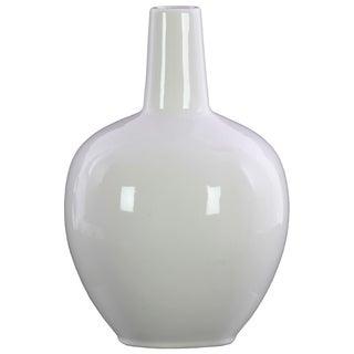UTC31856: Stoneware Bellied Round Vase with Long Neck and Tapered Bottom Gloss Finish White
