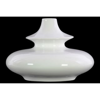 UTC31857: Stoneware Bellied Round Vase with Small Mouth, Short Neck and 2 Tier Design Body LG Gloss Finish White