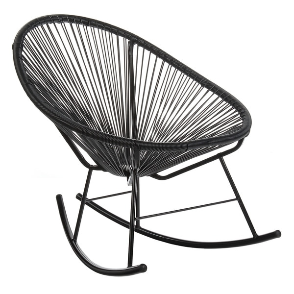 Beau Handmade Acapulco Papasan Rocking Chair, Indoor Or Outdoor, Black (China)
