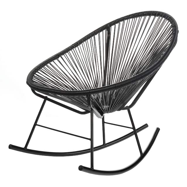 Acapulco Papasan Rocking Chair, Indoor or Outdoor, Black
